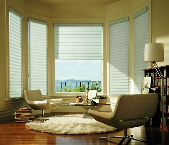 Luxaflex® Pirouette® Shadings providing a dramatic window styling to this modern sitting room.