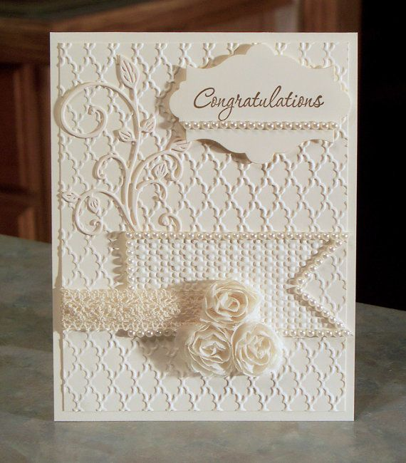 """Stampin Up Congratulations Card, 4 1/4"""" x 5 1/2"""" Heavily Embossed with Silk Roses & Pearls - Tone on Tone Anniversary or Wedding"""