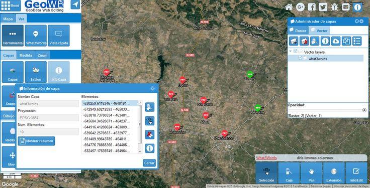 GeoWE #SIG #Web v. 0.1.92-Alpha. Capa @what3words geolocaliza Valle de los Pedroches #Geospatial #map