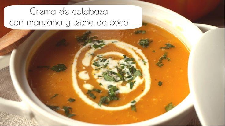 Crema de CALABAZA con MANZANA y LECHE DE COCO | RECETA VEGANA