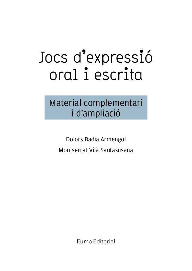 Jocs d'expressió oral i escrita