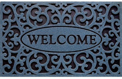 """Apache Mills Inc 963-1519F 18"""" X 30"""" Welcome Design Mat, Blue by Apache Mills. $16.32. Apache Mills Inc 963-1519F 18"""" X 30"""" Welcome Design Mat, BlueCleanScrape, a brand new TireTuff collection from Apache At Home, is a heavy-duty decorative mat with amazing scraping ability. Molded into thick recycled rubber designs with ChromaGrit surface textures, CleanScrape offers maximum traction in all weather conditions. Ideal mat for year-around outdoor use.Apache Mills Inc 963-1519F 18..."""