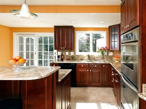 Colorful Kitchens - Kitchen Color Ideas - Good Housekeeping ..Tangerine walls