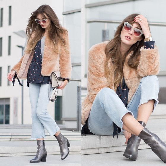 Get this look: http://lb.nu/look/8124922  More looks by Lisa Fiege: http://lb.nu/thelfashion  Items in this look:  Buffalo Metallic Booties, H&M Cropped Flares, Bershka Faux Fur Jacket, H&M Blazer, Komono Sunglasses, Le Tanneur Bag   #bohemian #casual #street #croppedflares #croppeddenim #kickflares #fauxfur #denimstyle