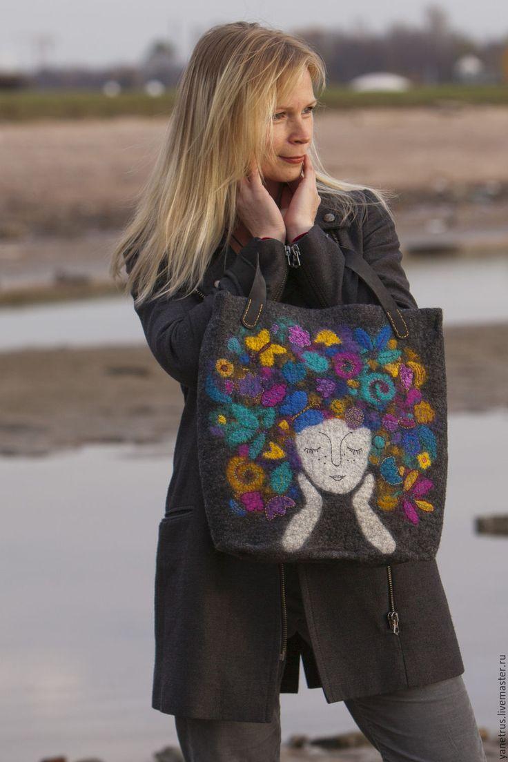 """Felted bag   Купить сумка войлочная сумка валяная с рисунком""""Помечтаем?"""" - темно-серый, сумка ручной работы, сумка"""