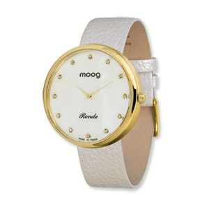 Moog Gold Plated Round MOP Dial Watch w/(CD-01G) White Band - SalmaWatches.com $229.95