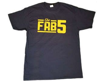 Fab 5 Michigan wolverines basketball shirt mens hip hop old school hoop