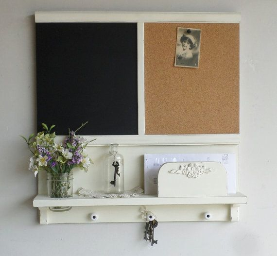 New... Country Cottage Mail and Key Holder/Organizer/Message Board/Chalkboard/Corkboard/Mason Jar Shelf