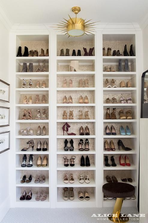 The Ivory Lane   Glam Closet Boasts A Custom Built In Shoe Shelves With  Backs