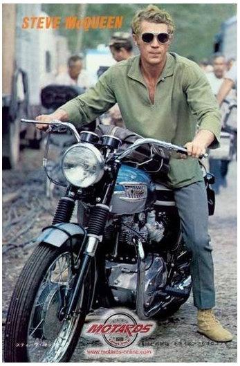 The venerable Steve McQueen on a Triumph Bonneville