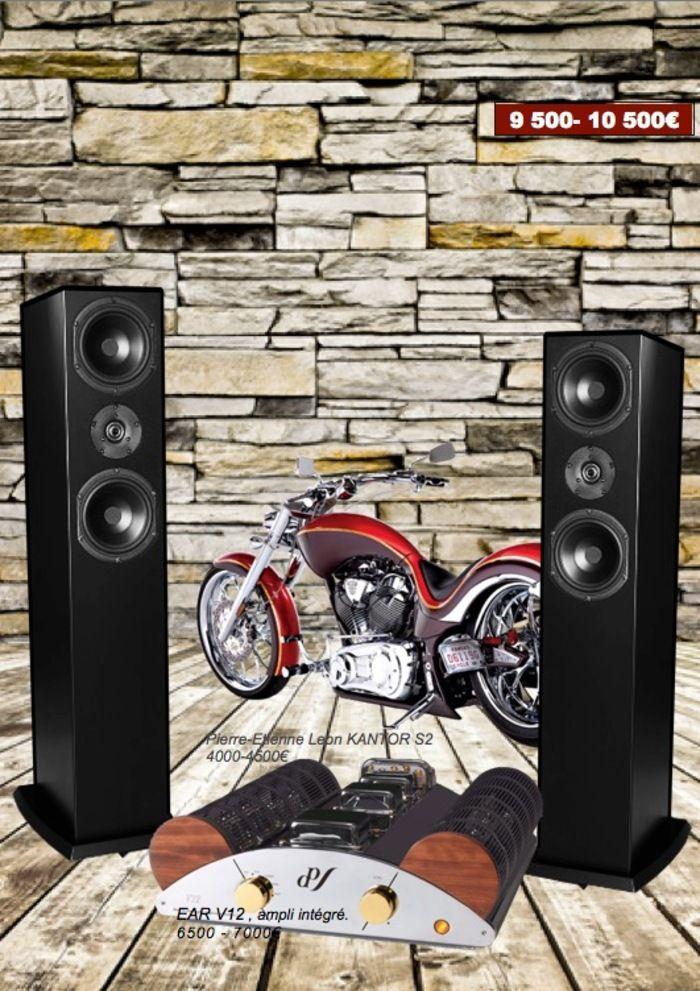 Duo Hifi ampli audio stereo intégré à tubes EL84 Ear V12 sur enceintes Hifi Pierre Etienne Leon