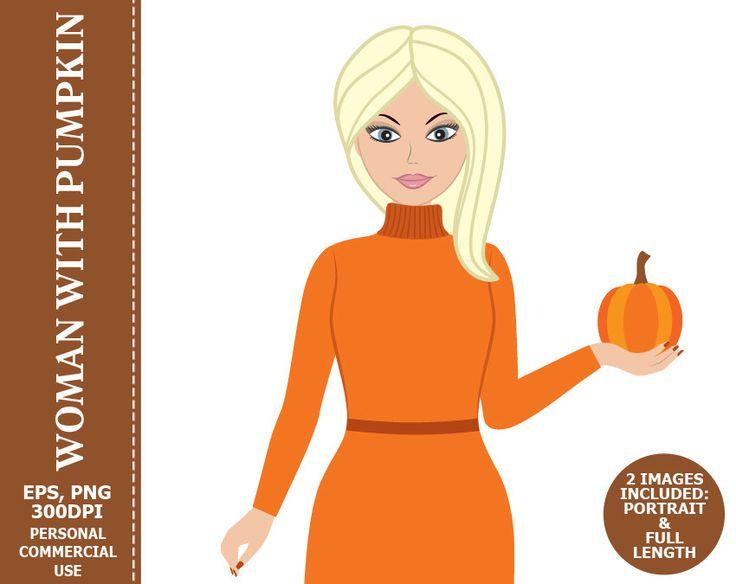 70% OFF SALE Woman with Pumpkin Clipart - Woman, Girl, Character, Pumpkin, Thanksgiving, Fall Clip Art #thecreativemill
