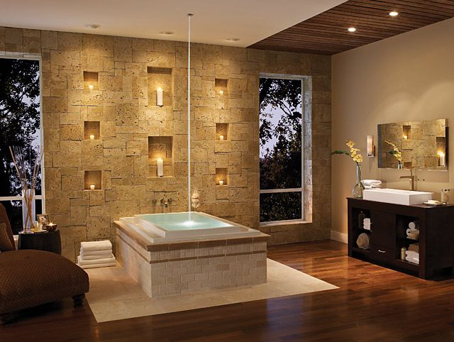 Photo Gallery Website Stone candle wall and spa like bath tub