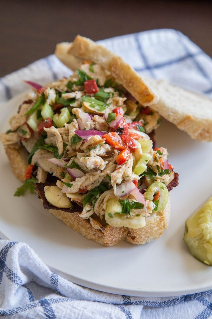 This is chicken salad for the mayonnaise-hating crowd, although even if you happen to think mayonnaise is perfectly delightful, this is a nice alternative. It's got crunch, color, and a tangy dijon vinaigrette. Plus, it goes really well with some slices of bacon. Just sayin'.