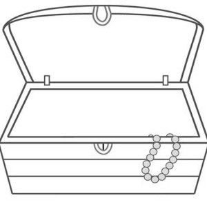 a fat pirate captain with treasure chest filled of books coloring - Open Treasure Chest Coloring Page