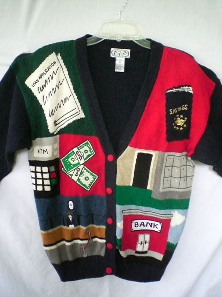 Bank Teller Sweater ATM Money Savings Woman SZ Medium Sweater P'Galli Novelty #PGalli #Cardigan