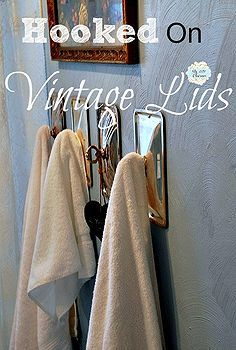 vintage chafing dish lid towel holders, bathroom ideas, organizing, repurposing upcycling, shelving ideas