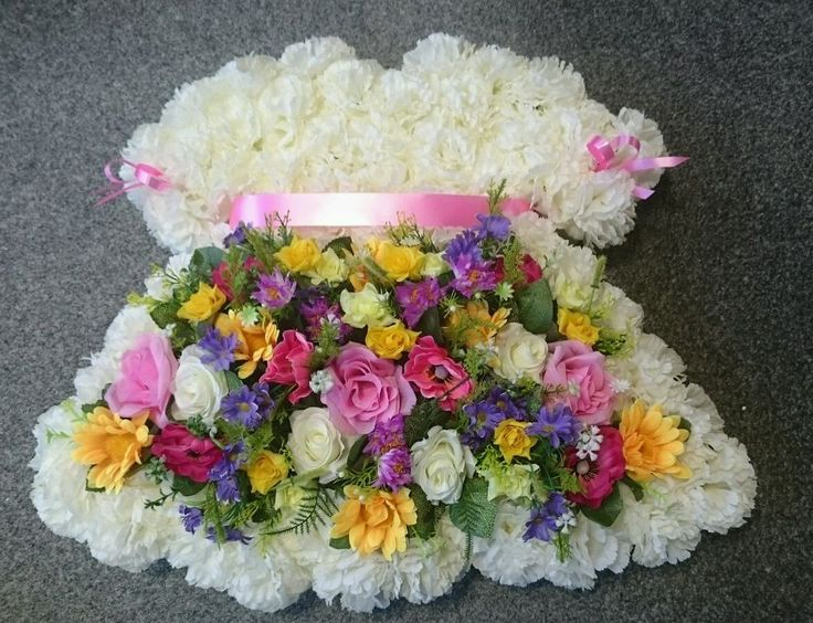 BABY GIRL'S DRESS WREATH, ARTIFICIAL SILK FLOWER FUNERAL TRIBUTE, FOR GRAVE in Home, Furniture & DIY, Celebrations & Occasions, Memorials & Funerals   eBay