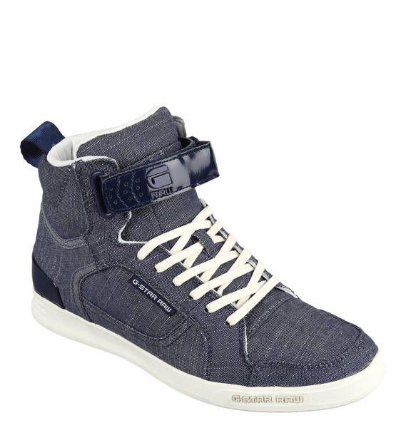 #G-Star #RAW #Sneaker #Yield, #hoch, #Klettverschluss, #Denim, #Leder-Details - Starke G-Star RAW Sneaker Yield mit hohem Schaft und…