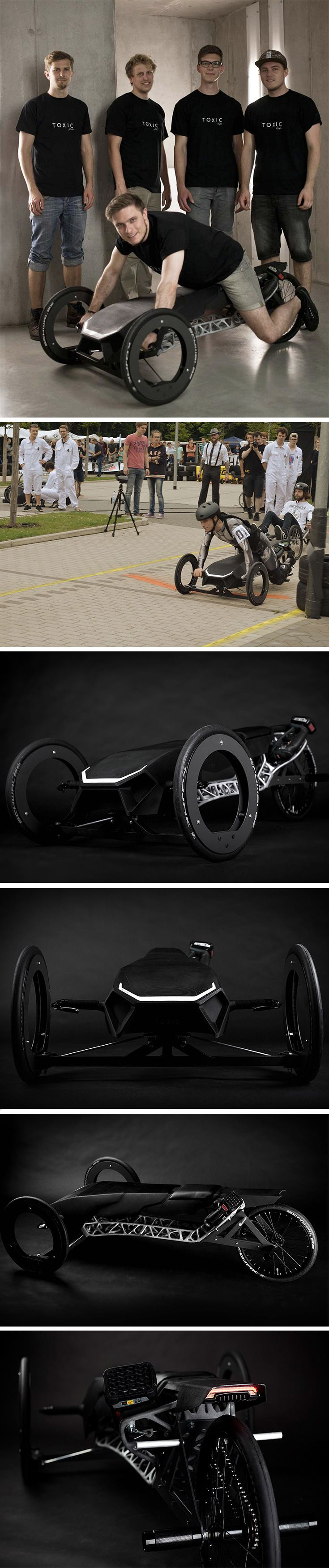 """The goal behind the TOXIC racer was to create an almost entirely 3D printed vehicle powered only by a cordless electric drill. Designed for the for the annual """"Akkuschrauberrennen"""" drill race in Germany, the team name """"TOXIC"""" refers to a stinging scorpion which the form of the vehicle mimics. As for steering, its been developed to be easily controlled by shifting the drivers weight to one side or the other."""