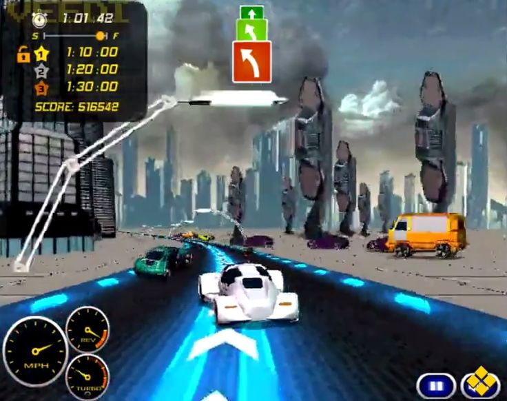 Put the pedal to the metal in this futuristic high #Speed #Racing! Finish in the top 3 places to earn money rewards which you can spend on upgrading your car. You have 15 tough tracks to win. Good luck!  #Friv