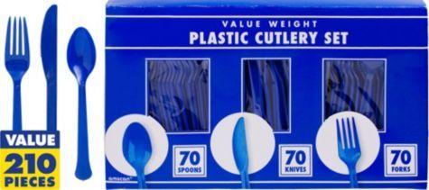 Royal Blue Cutlery Set 210pc - Party City