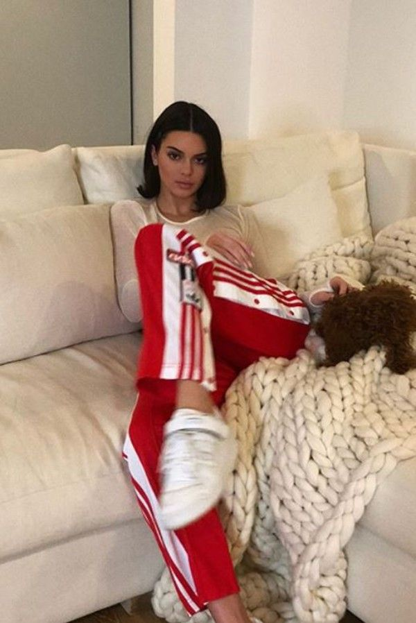 Kendall Jenner wearing the Adidas Originals Adibreak snap track pants a1e02b5b599