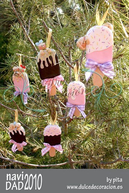 M s tama os coleccion adornos navide os ginger bread - Arbol de navidad blanco decorado ...