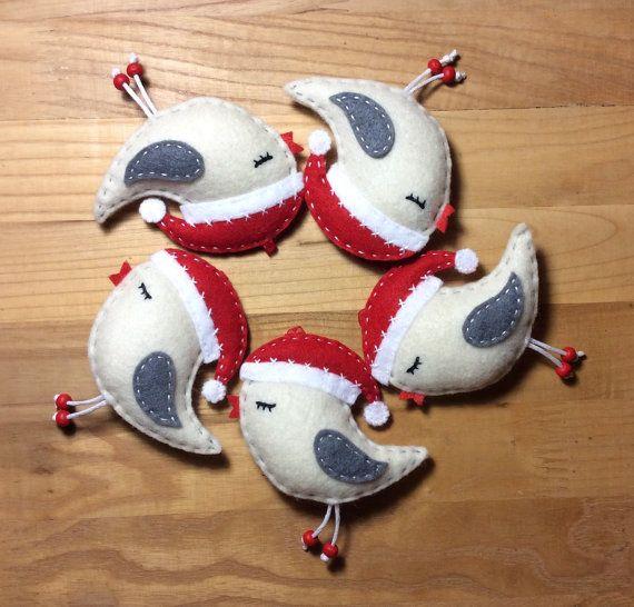 Set of 5 felt birds in Santa's hats Christmas by HandmadeByHelga
