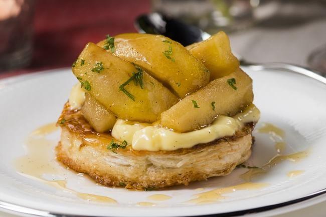 Terte med karamellisert eple og vaniljekrem