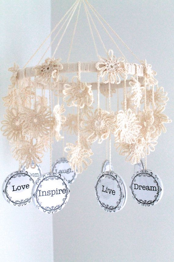 Hanging mobile crochet shabby chic home decor by creativecarmelina inspiration and ideas for Crochet home decor on pinterest
