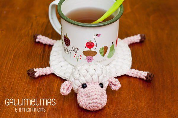 DIY como hacer un posavasos oveja a crochet