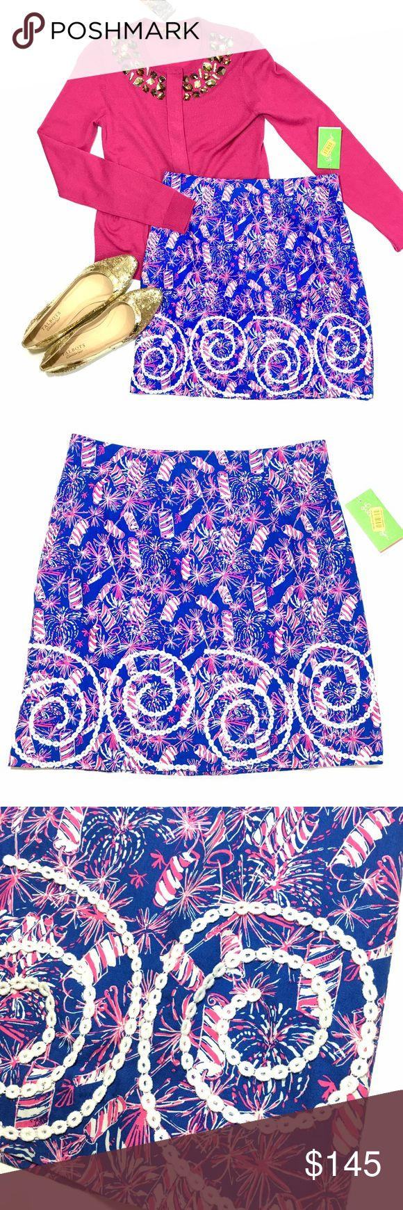 NWT Lilly Pulitzer Firework Skirt Brand new with tags. HOLY GRAIL & HTF Print. Perfect skirt for 4th of JULY!  Lilly Pulitzer Skirts