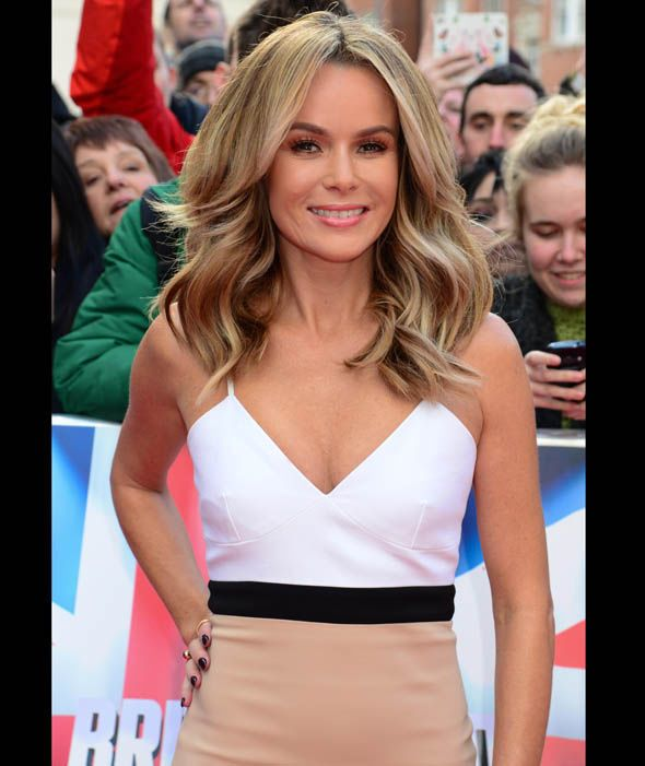 Amanda holden looks stunning in this nude and white dress at the Britains Got Talent auditions