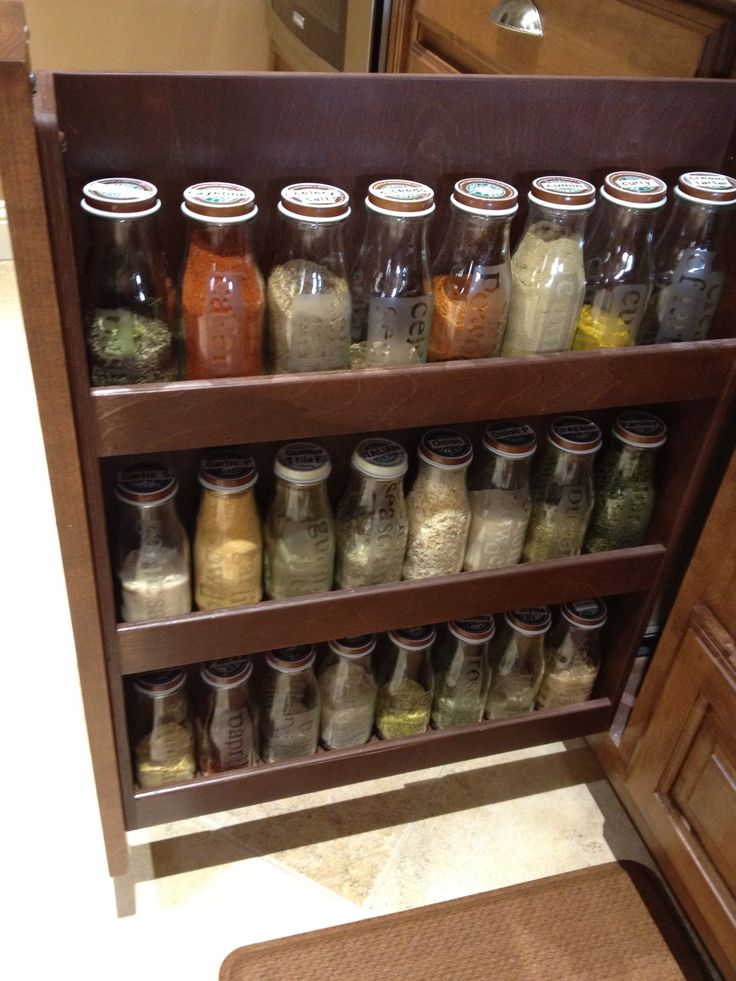 I absolutely love this idea. Everything looks uniform and organized with the glass bottles. And their shelving for them is perfect.  Future spice storage for my kitchen right here!  I might even leave the lids as is bc it adds a certain character to the whole thing.   Etched Starbucks glass jars and used for spices....