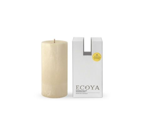 Ecoya Pillar Candle – Lemongrass and Ginger. Ginger and freshly cut lemongrass are blended with African mint and aromatic herbs to create a balanced and refreshing classic.