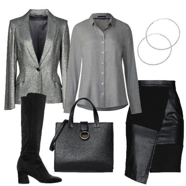 Mix chic con gonna asimmetrica, camicia e giacca lamè, borsa