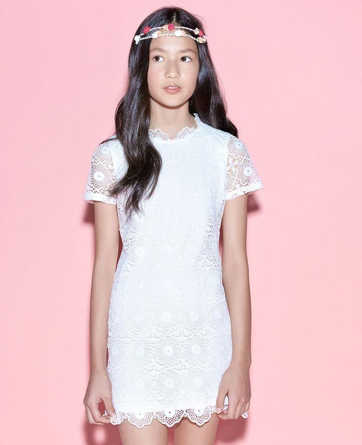 Girls Crochet Dress - Bardot Junior