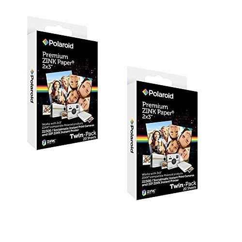 Polaroid 2x3 inch Premium ZINK Photo Paper (40 Sheets) - Compatible With Polaroid Snap Z2300 SocialMatic Instant Cameras & Zip Instant Printer