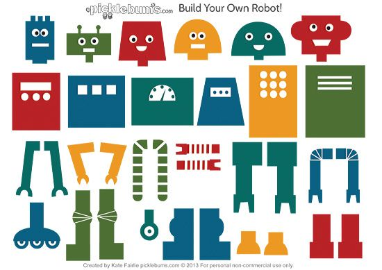 "Build Your Own Robot - a free printable set of robot parts for playing & creating from Picklebums ("",)"