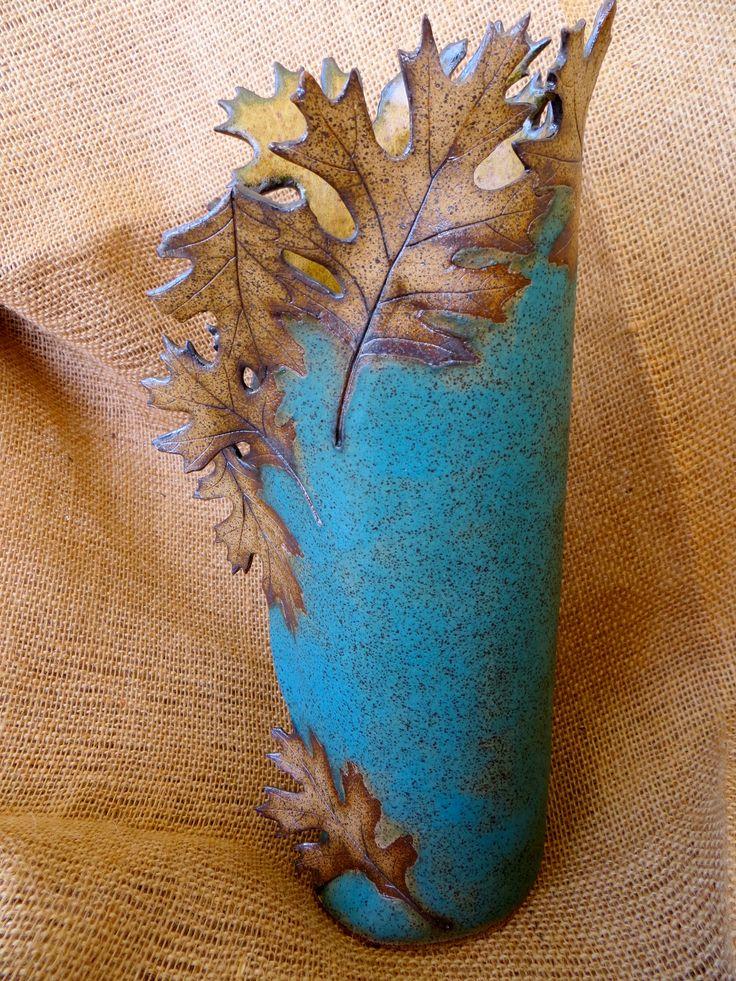 Matte Turquoise Leaf Vase (side) Created by Linda Leonforte