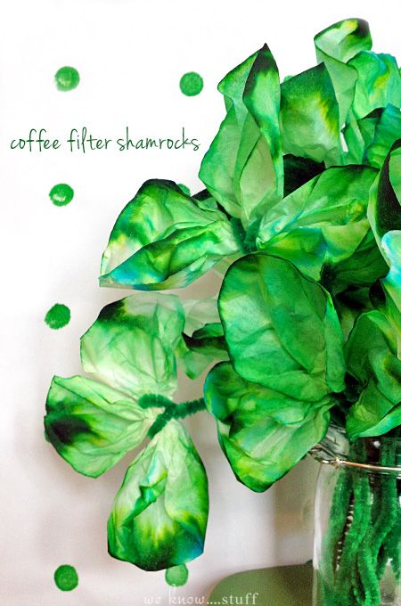 These adorable shamrocks are so simple to make. All you need is coffee filters and food dye. It's the perfect kid's craft for St. Patrick's Day! we know stuff   Coffee Filter Shamrocks   www.weknowstuff.us.com