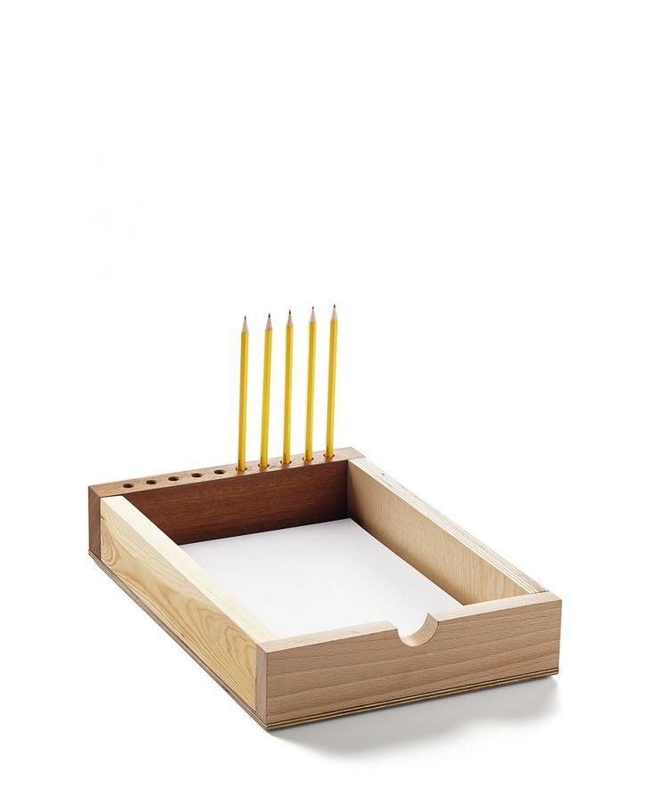 Thought's Box. A simple solution for office areas, design offices, as well as individual clients. A place for pencils, a tray for paper, a combination of various kinds of wood and plywood, make the Thoughts' Box not just a simple paper tray, but also a decorative object.