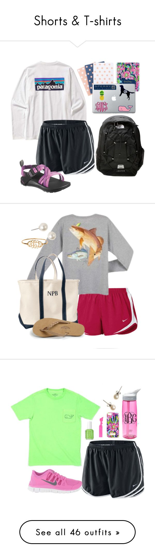 nike shoes Shorts T-shirts by sassy-prep ❤ liked on Polyvore featuring moda, Patagonia, NIKE, The North Face, Lilly Pulitzer, Vineyard Vines, Sperry Top-Sider, L.L.Bean, Rainbow y Givenchy