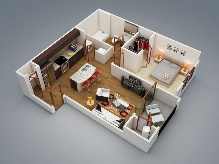 50 One U201c1u201d Bedroom Apartment/House Plans Part 65