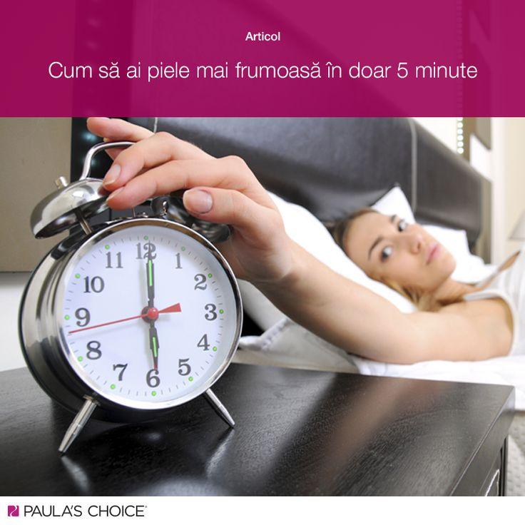 Pentru majoritatea dintre noi, activitatea zilnică începe cu mult înainte de a ajunge efectiv la birou, școală sau întâlniri. Nu contează însă cât de presați de timp suntem, îngrijirea pielii nu trebuie neglijată nici măcar atunci când avem un program încărcat. Află ce poți face pentru a avea o piele mai frumoasă când ești presată de timp:http://www.paulaschoice.ro/blog/cum-sa-ai-o-piele-mai-frumoasa-doar-5-minute/»