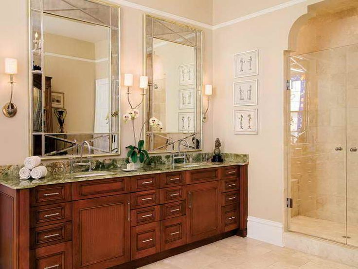 Website Picture Gallery Chic Rectangle Mirrors Above The Wooden Cabinet Blend With Beige Bathroom And Wall Lamps Elegant And Modern Bathroom Mirror Desig