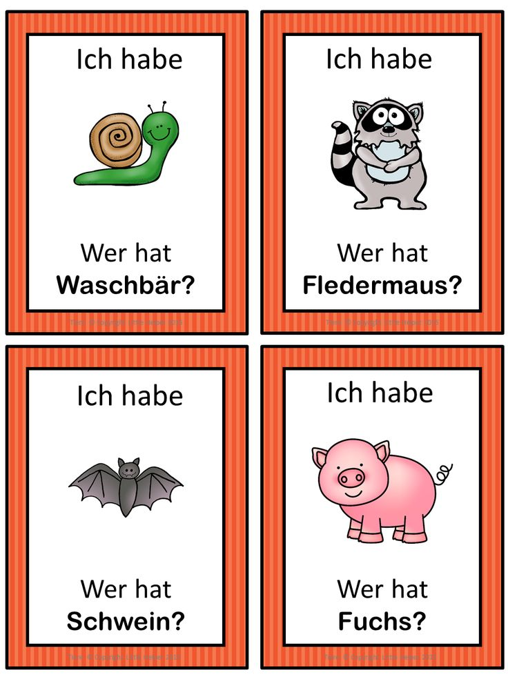 German version of the I have ... Who has ...? game. This German game can be played to practice German animals. The game has 47 cards with a colorful frame and 47 cards with a simple black frame to save you ink. There are 4 cards per page.