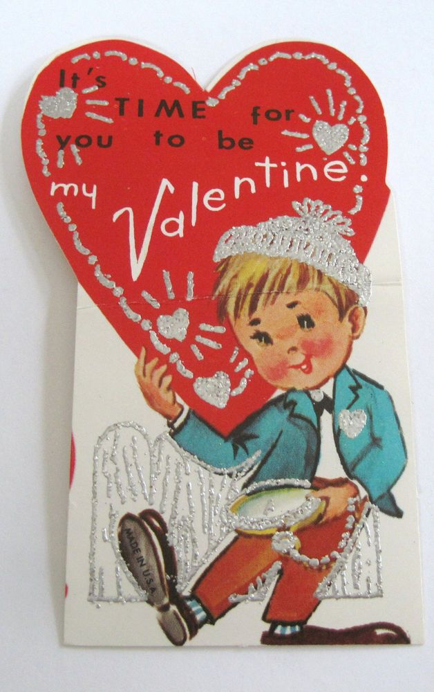 Used Vtg Valentine Boy with Pocket Watch It's Time for You to be my Valentine