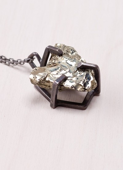 Prong Set Pyrite Necklace